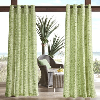 Madison Park Morro Printed Fret 3M Scotchgard Water Repellent and Stain Resistant Outdoor Grommet Top Curtain Panel