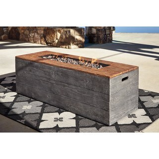 Signature Design by Ashley Hatchlands Faux-wood Aluminum Rectangle Fire Pit Table