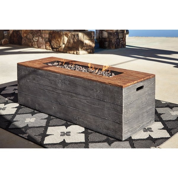 Signature Design By Ashley Hatchlands Faux Wood Aluminum Rectangle Fire Pit  Table