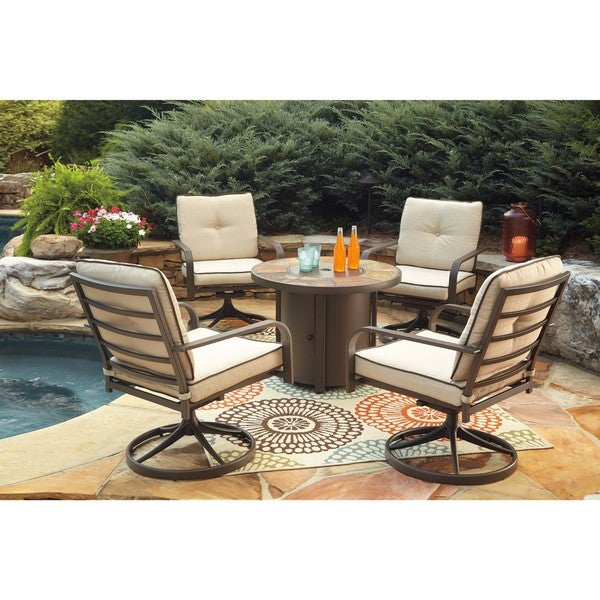 Shop Signature Design By Ashley Predmore Brown Round Fire Pit Table