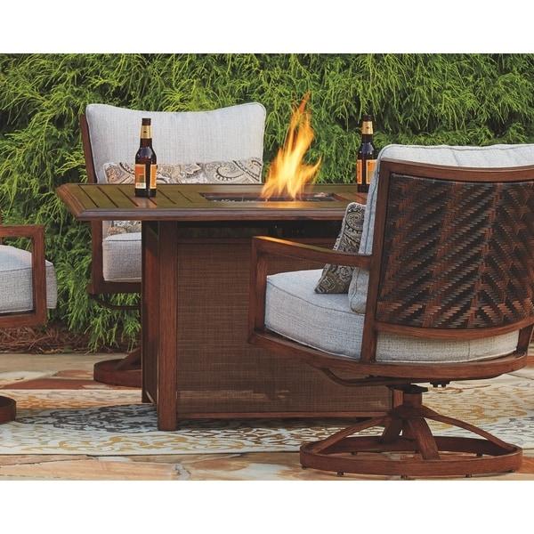 Shop Signature Design By Ashley Zoranne Brown Square Fire Pit Table