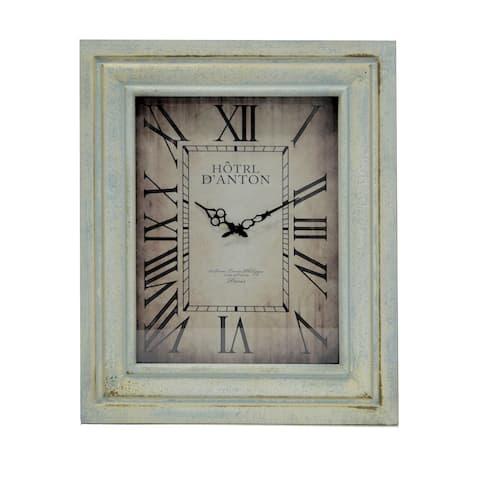 Jeco Rectangular Vanilla Wood 27.5-inch Wall Clock