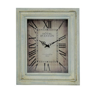 Jeco Rectangular Vanilla Wood 27.5-inch Wall Clock