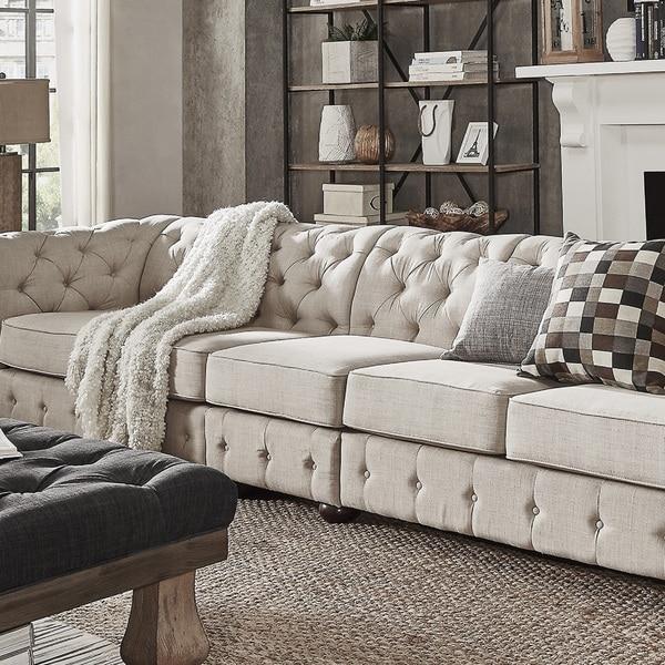 Extra Large Leather Sectional Sofas: Knightsbridge Beige Linen Oversize Extra Long Modular