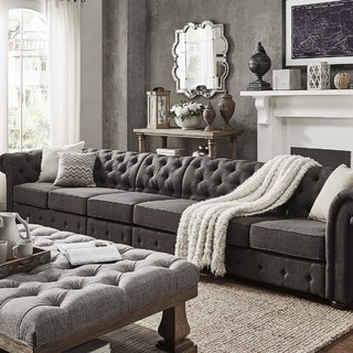 Knightsbridge Dark Grey Linen Oversize Extra Long Modular Sectional Sofa Extension by SIGNAL HILLS