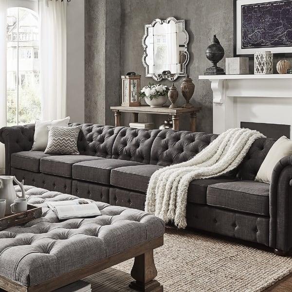 Dark Grey Linen Sectional Sofa