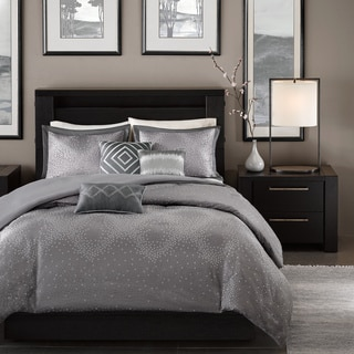 Madison Park Crawford Grey 6-piece Full/ Queen Size Duvet Cover Set in Gray (As Is Item)