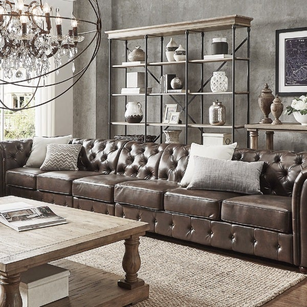 Knightsbridge Brown Bonded Leather Oversize Extra Long Modular Sectional Sofa