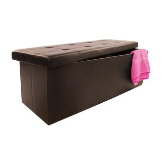 Brown 45-inch Collapsible Storage Ottoman