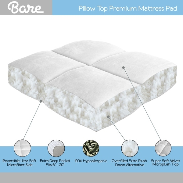 Pillowtop Matress Topper Hypoallergenic Microfiber Mattress Pad Deep Pocket New