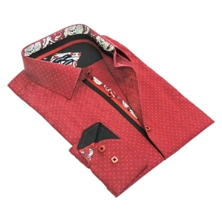 Rosso Milano Men's Polka Dot Jacquarded Dress Shirt