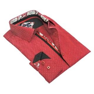 Rosso Milano Men's Polka Dot Jacquarded Dress Shirt