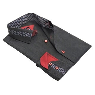 Rosso Milano Men's Cotton-blend Jacquard Print Contrasted Dress Shirt