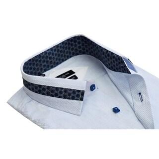 Rosso Milano Men's Cotton-blend Jacquard Print Contrasted Dress Shirt