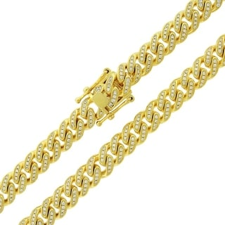 Gold over Silver 8.5mm Cubic Zirconia Iced Out Miami Cuban Curb Link Necklace