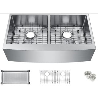 Starstar Stainless Steel 35-inch Undermount Apron 50/50 Double Bowl Stainless Steel Kitchen Sink Kit