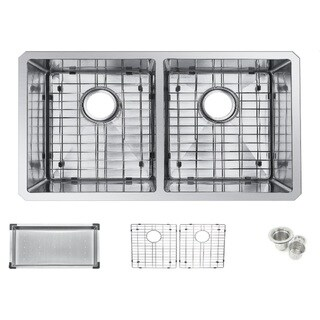 Starstar 31-inch Double Bowl 304 Stainless Steel Undermount Kitchen Sink with Accessories
