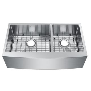 Starstar 60/40 Stainless Steel 35-inch Undermount Apron Double-bowl Kitchen Sink with Grids