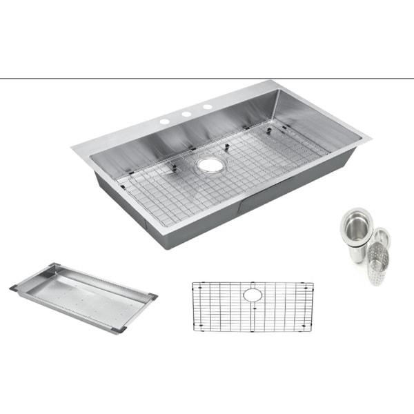 Starstar 33 X 22 Top Mount Double Bowl Kitchen Sink Drop In 304 Stainless Steel 16