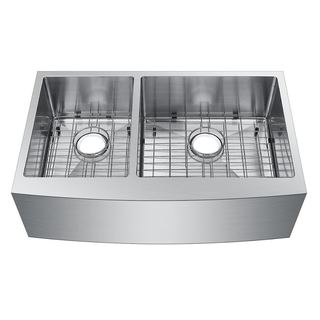 Starstar Stainless Steel 33-inch 40/60 Double-bowl Undermount Apron Kitchen Sink With Grids