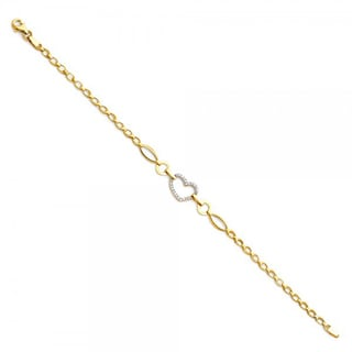 14k Yellow Gold Cubic Zirconia Heart and Link Bracelet (7.25 inches)