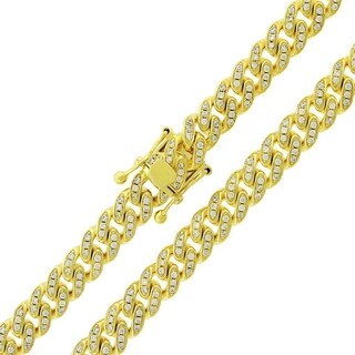 .925 Sterling Silver Yellow Gold Plated 9mm Cubic Zirconia Cuban Curb Link Chain