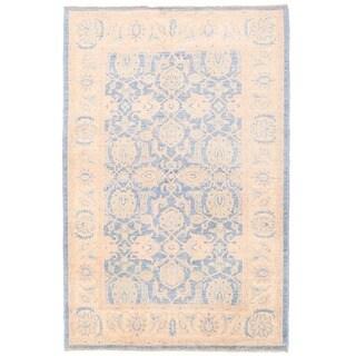Herat Oriental Afghan Hand-knotted Vegetable Dye Oushak Wool Rug (4' x 6'1)