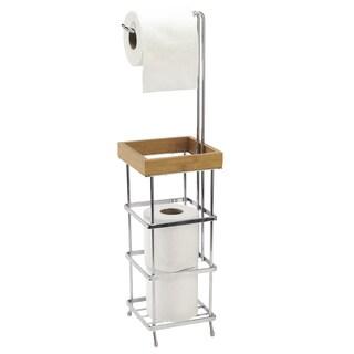 Laura Ashley Satin Nickel Aluminum 4-roll Toilet Paper Reserve and Dispenser