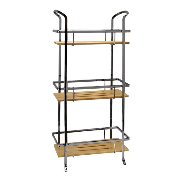 Laura Ashley Onyx Iron and Natural Bamboo 3-tier Spa Tower