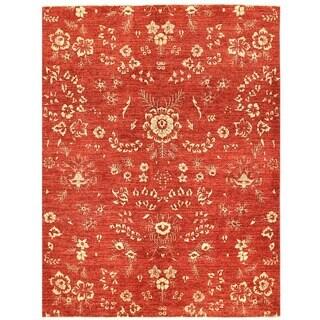 Herat Oriental Afghan Hand-knotted Vegetable Dye Khotan Wool Rug (4'11 x 6'6)