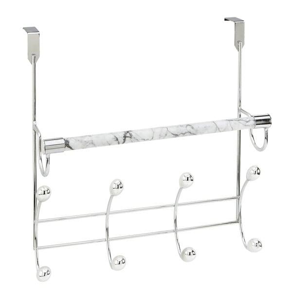 Bath Bliss Marble Tube Over-the-door Vertical 10-hook Rack
