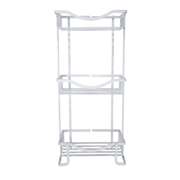 Bath Bliss Anodized 3-tier White Bathroom Tower