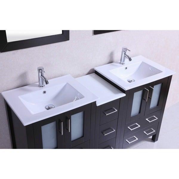 Shop 60 Inch Belvedere Modern Espresso Double Bathroom Vanity With