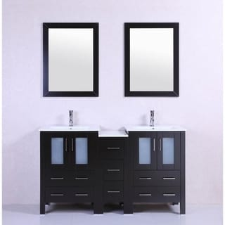 60-inch Belvedere Modern Espresso Double Bathroom Vanity with Ceramic Top