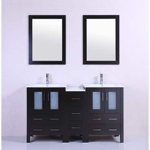 60-inch Belvedere Modern Espresso Double Bathroom Vanity with Ceramic Top
