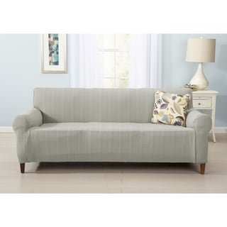 Darla Collection Platinum Strapless Cable Knit Form Fit Sofa Slipcover