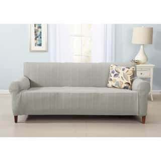Darla Collection Platinum Strapless Cable Knit Form Fit Sofa Slipcover Option Tan
