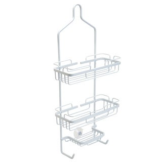 Bath Bliss Curved White Aluminum Shower Caddy