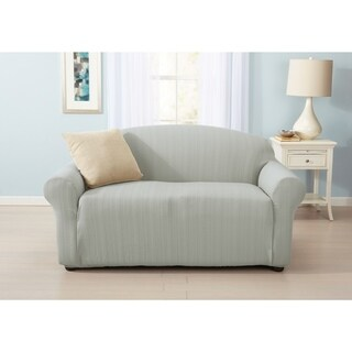 Home Fashion Designs Darla Collection Platinum Strapless Cable Knit Form Fit Loveseat Slipcover