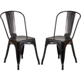 Black Antique Gold Metal Bistro-style Chair