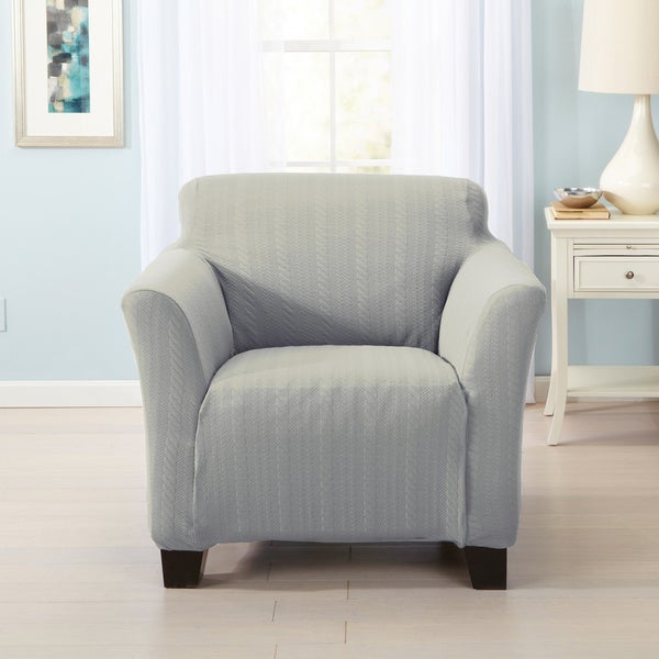 Home Fashion Designs Darla Collection Platinum Cable Knit Form Fit Chair Slipcover Free