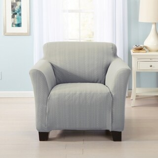 Home Fashion Designs Darla Collection Platinum Cable Knit Form Fit Chair Slipcover (Option: Blue)