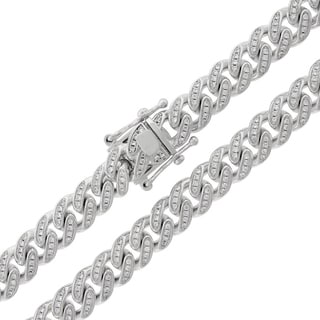 Sterling Silver 9.5mm Cubic Zirconia Iced Out Miami Cuban Curb Link Necklace