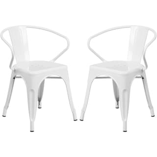 White Galvanized Metal Integrated Arm Chairs
