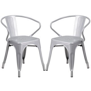 Silver-tone Galvanized Metal Integrated Arm Chairs