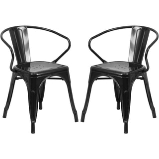 Black Galvanized Metal Integrated Arm Chairs