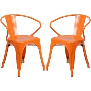 Orange Galvanized-metal Integrated Arm Chairs
