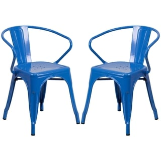 Blue Galvanized Metal Integrated Arm Chairs