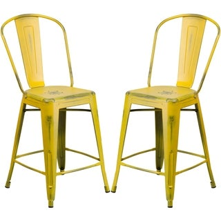 Yellow Metal Distressed Counter-height Stool
