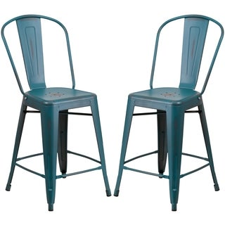 Distressed Blue Teal Metal Counter-height Stool